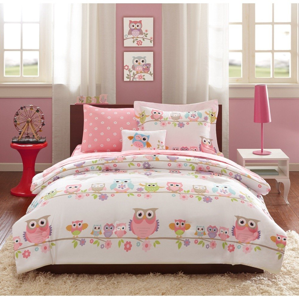 6 Piece Pink Off White Girls Owl Floral Theme Comforter Twin Set, Cute Fun All Over Owls Bedding, Friendly Bird Animals Blossoming Daisy Flower Tree Themed Polka Dots Pattern, Purple Orange Blue Green