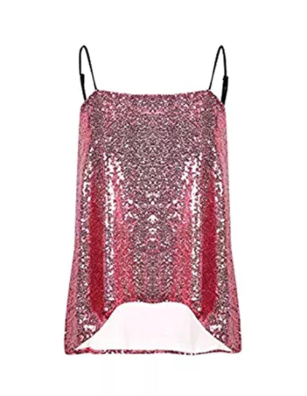 Hodoyi Women Glitter Sequin Cami Crop Tops Vest Club Wear(S,Pink)