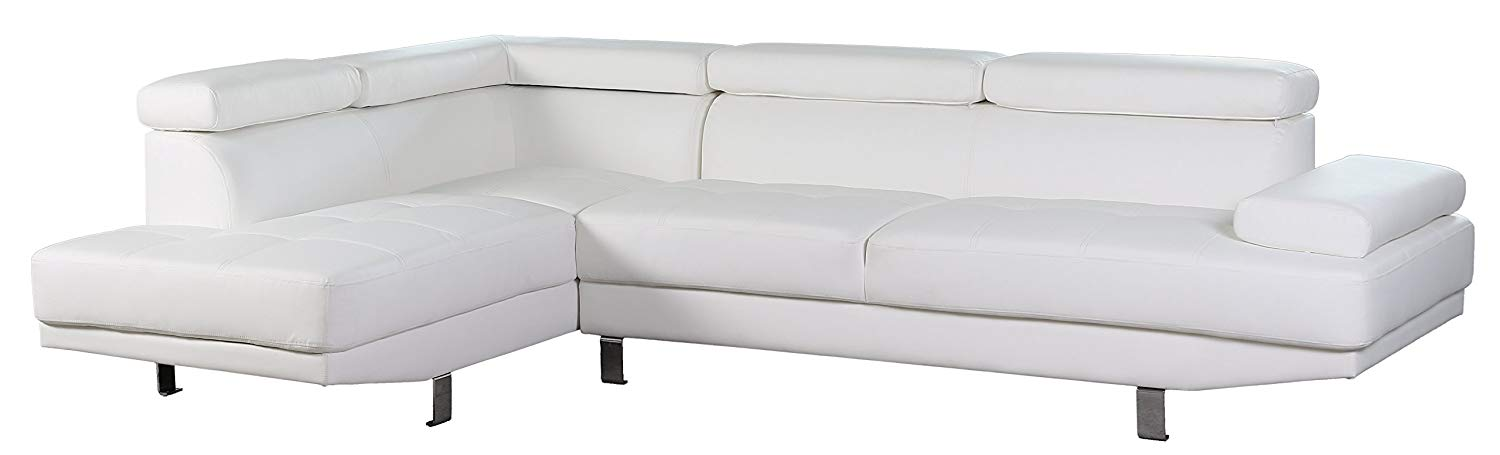 """Container Furniture Direct S0071L-2PC Rangel Elegance Faux Leather Upholstered Contemporary Modern Left-Sided Sectional Sofa, 110.2"""", White"""