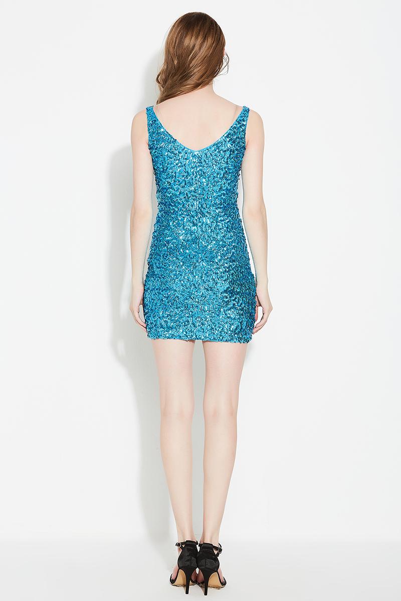 2018 Women Deep V-neck Sequin Glitter Bodycon Stretchy Mini Party ...