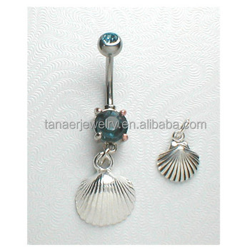 Fashion Jewelry Hanging Belly Button Newest Design Stainless Steel Body Piercing Jewelry Shell Long Belly Ring View Navel Belly Ring Tanaer Belly