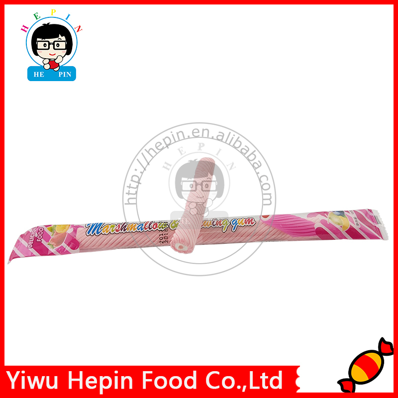 13g Long Stick Twist Marshmallow Halal Marshmallow Candy Jelly/Jam Filled Marshmallow