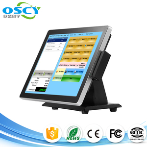 15inch windows tablet pos / touch screen monitor with card reader and software