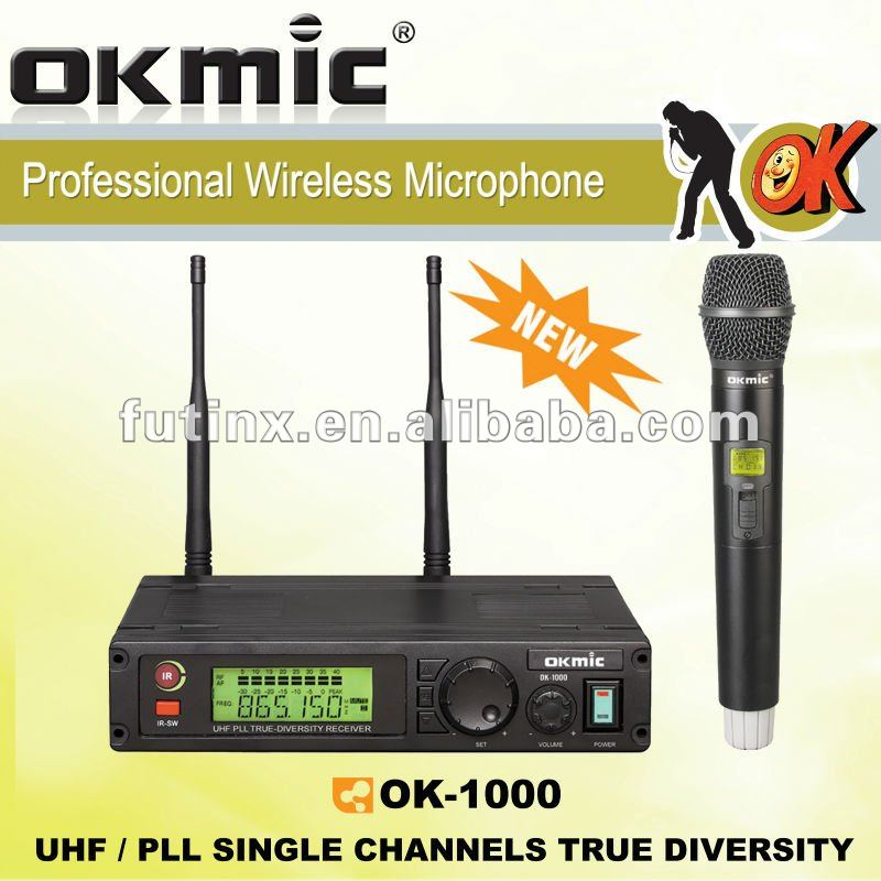 OK-1000 Single Channels/UHF PLL 32/99 channels ,True Diversity wireless microphone