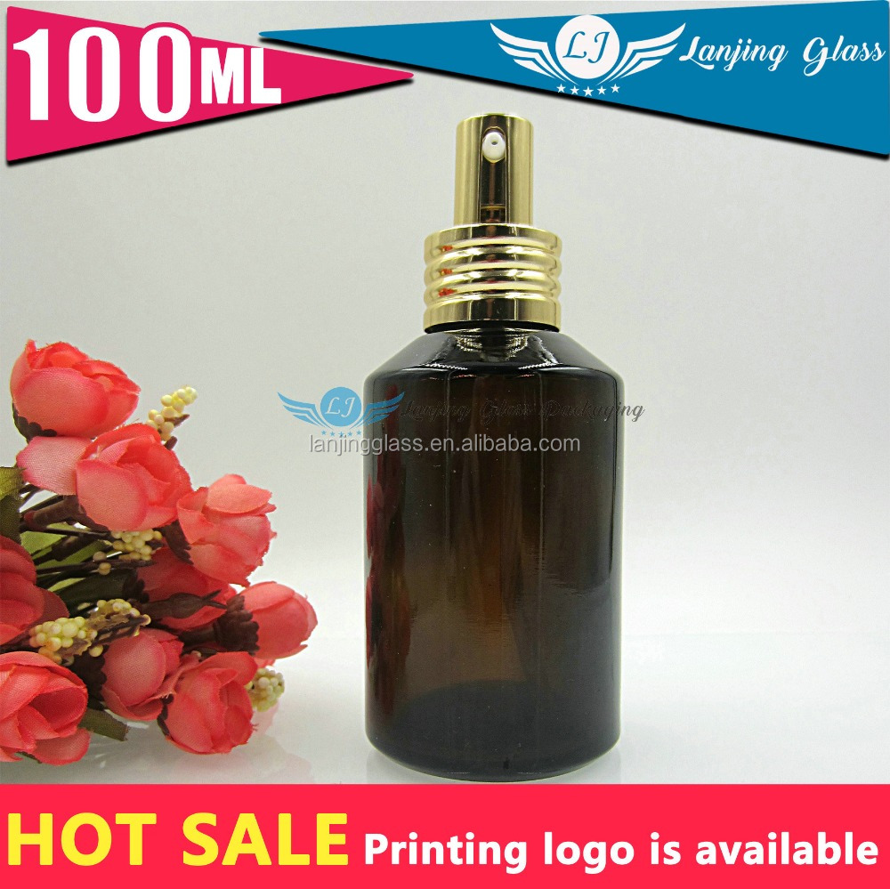 100ml Guangzhou factory sale good quality amber cosmetics perfume glass bottle with <strong>spray</strong>