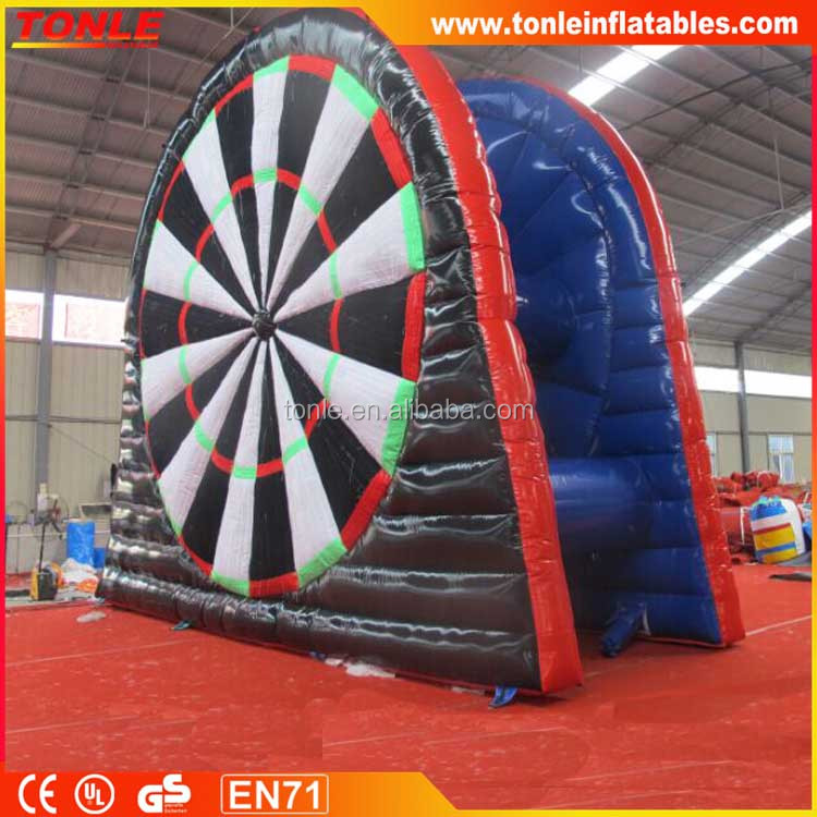 Best selling double side inflatable foot dart with factory price, Giant outdoor inflatable soccer dart for fun