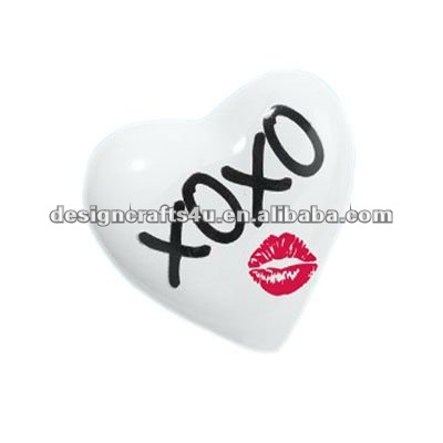 Heart Shaped White Ceramic Paperweight