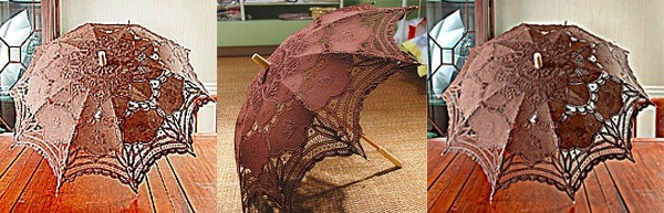 Chocolate Brown Color Wedding Bridal Hand Lace Fan and Umbrella Wedding Favors