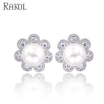 Rakol Wedding Party Lover Gift Shine Chaste Zircon Diamond Decoration Pearl Flower Stud Earrings E225