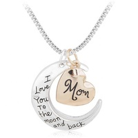 Fashion Pendant I Love You Moon Shape Moon Necklace For Mothers Day Gifts