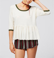 Vintage White Peplum Top Style Ringer T Shirt HST2473