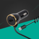 New 2.1A/3.1A Led Mobile 1 Usb Port Charging Adapter Universal Fast Electric Smart Phone Car Charger With Micro/iP/Type-c Cable