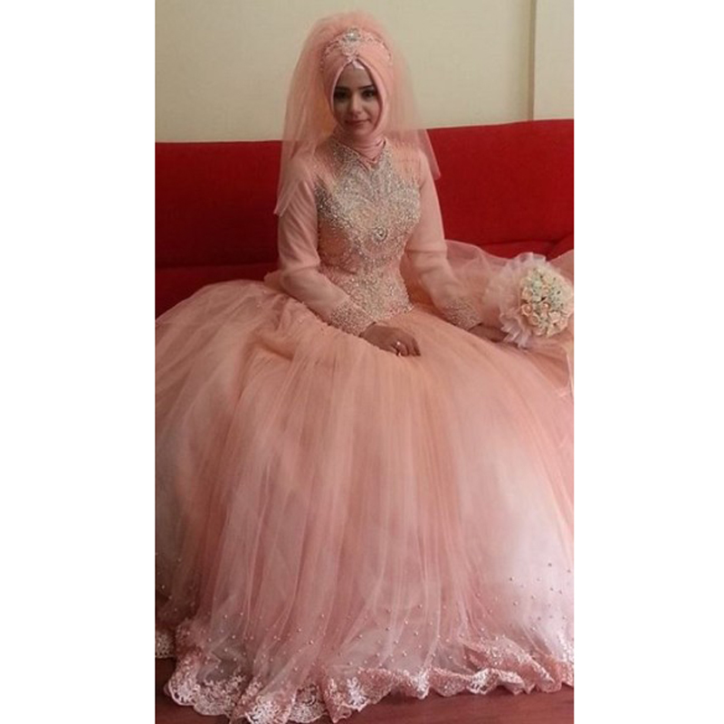 ebe8f56d3 Get Quotations · New pink elegant hot muslim high neck beaded long sleeve wedding  dress zipper applique ball gown