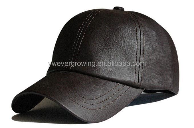 6 panel de la gorra de béisbol para hombre negro sólido cuero pelota de  béisbol sombrero 8fcb44fb144