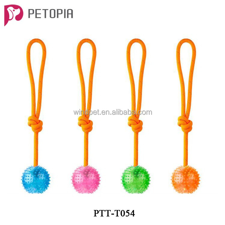 Dog Pet Intelligent Toys with Rope Loop and Flashing Light Glowing TPR Rubber Ball