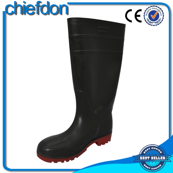 100% natural PVC cheap waterproof rain boot with steel toe