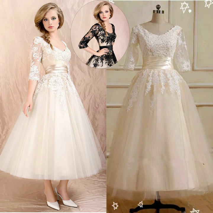 Simple Ankle Length Lace Wedding Dresses White Three: The Popular Wedding Dress 2016 Short Three Quarter Sleeve