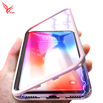 premium selection 86e40 f6b46 360 Degree Full Protective Metal Frame Tempered Glass Back Cover Case  Magnetic Adsorption Phone Case For Iphone X - Buy Magnetic Phone  Case,Magnetic ...