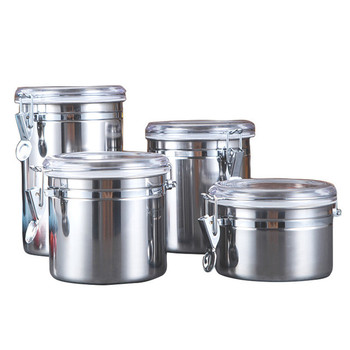4-Piece Stainless Steel Airtight Canister Set Food Storage Container for Kitchen Counter, Tea, Sugar, Coffee, Candy
