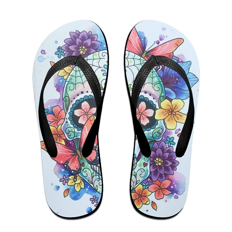 0e7e3b928 Get Quotations · Beautiful Skull Print Fun Flip Flops Thong Sandals, Beach  Sandals, Casual And Comfortable Sandals