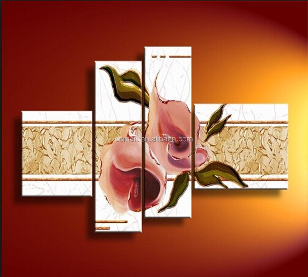 custom canvas designs hand painted 4 pieces group oil painting wall