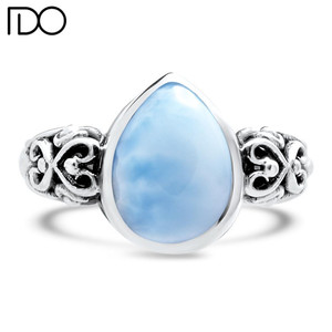 Professional manufacturer supply larimar 925 silver ring china fancy bezel ring for woman larimar ring for women