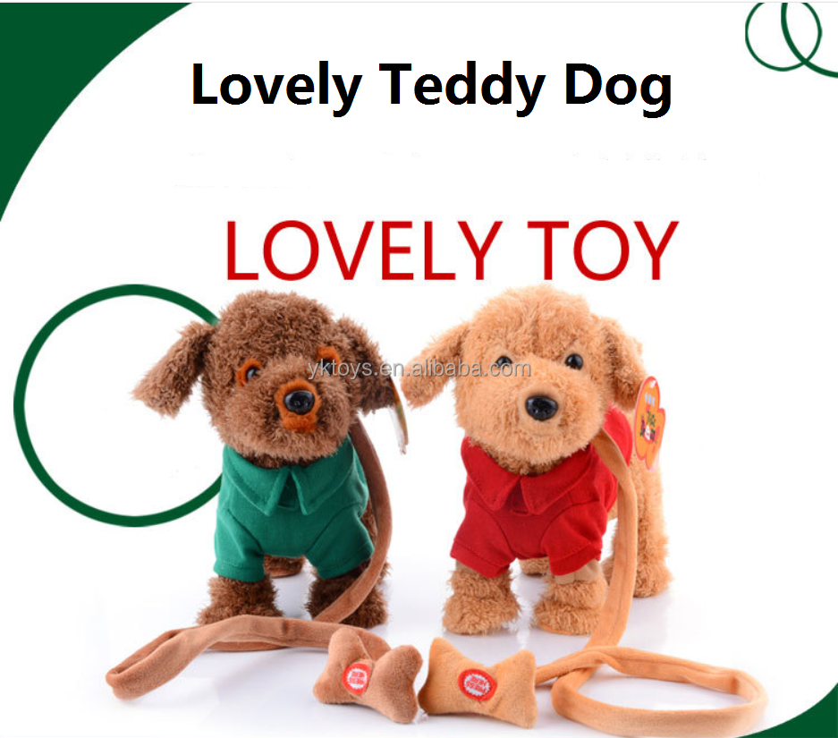 New design lovely teddy dog plush toy battery operated walking dog toy
