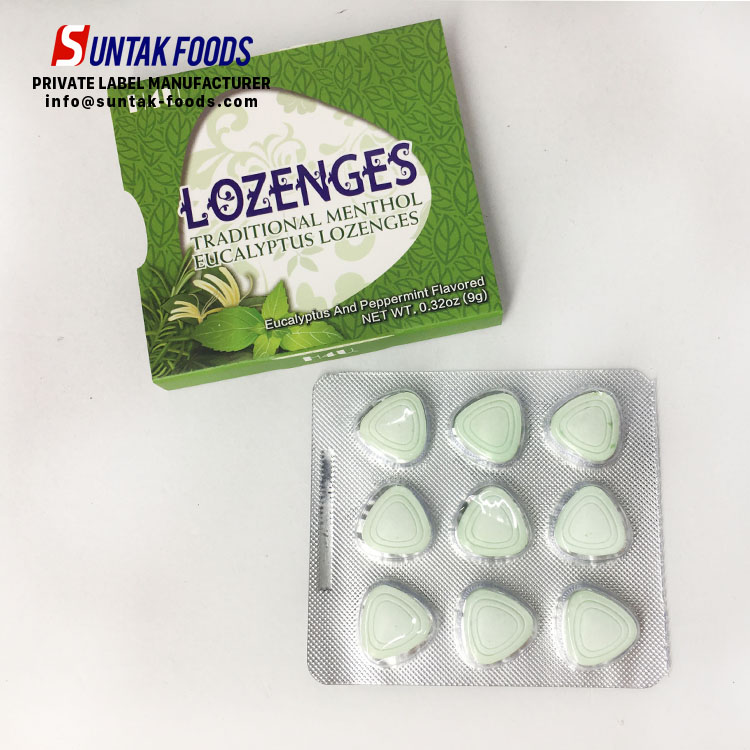 eucalyptus and peppermint flavor compressed candy cool throat Lozenge