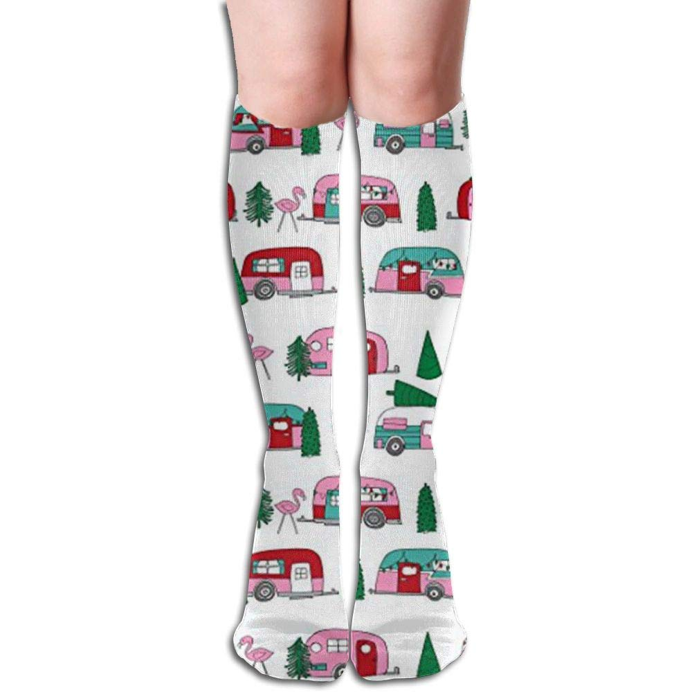 3fced4233a Get Quotations · Hdgys90dg Christmas Campers Xmas Holiday Compression Socks,Knee  High Compression Sock for Women & Men