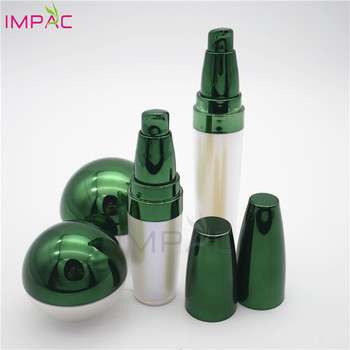 cute shiny UV coating luxury cosmetic jar set with airless bottles