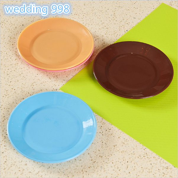 Creative pratos Tableware flat plate saucer seeds snack food-grade plastic snack dish pratos Candy colors melamine plates