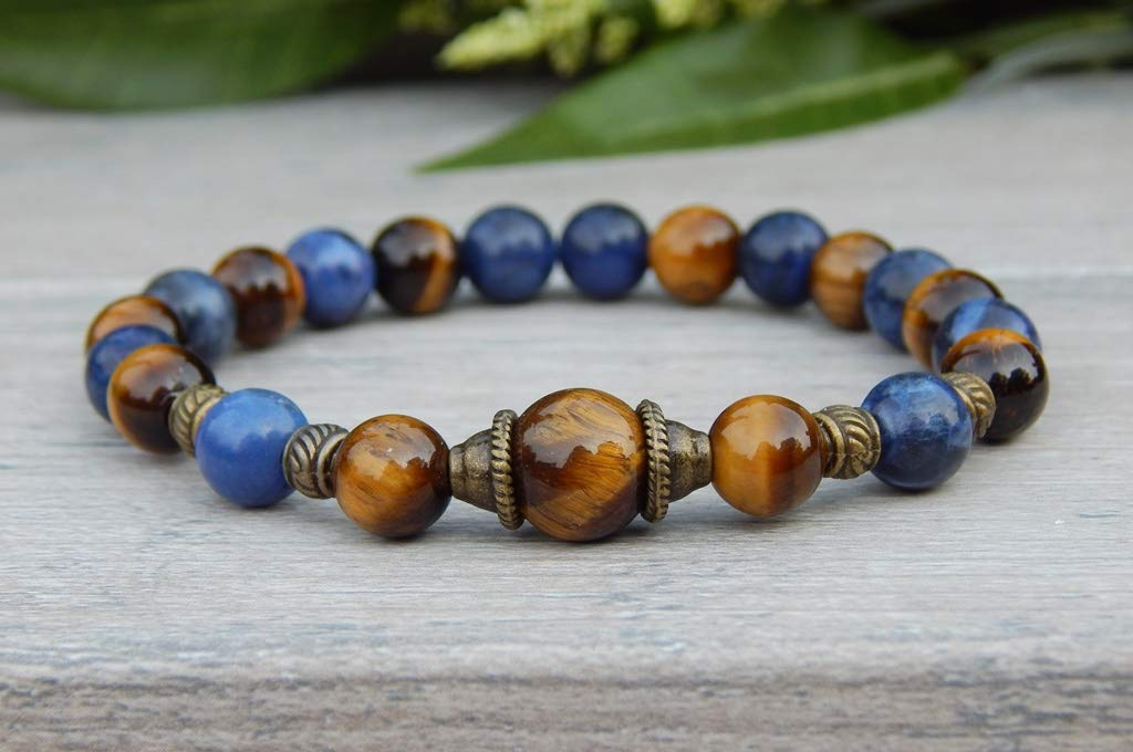 Mens Tiger Eye Bracelet with Sodalite - Brown and Blue Beaded Jewelry