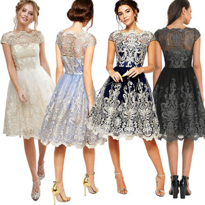 High Quality Embroidered Lace Evening Wedding Party Dresses Women Lady