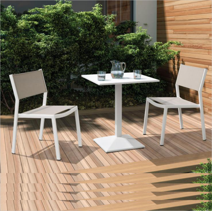 Venice Outdoor Patio Furniture Aluminum Uv Plastic Wood 2 Person Birsto Coffee Table And Chairs Garden Set