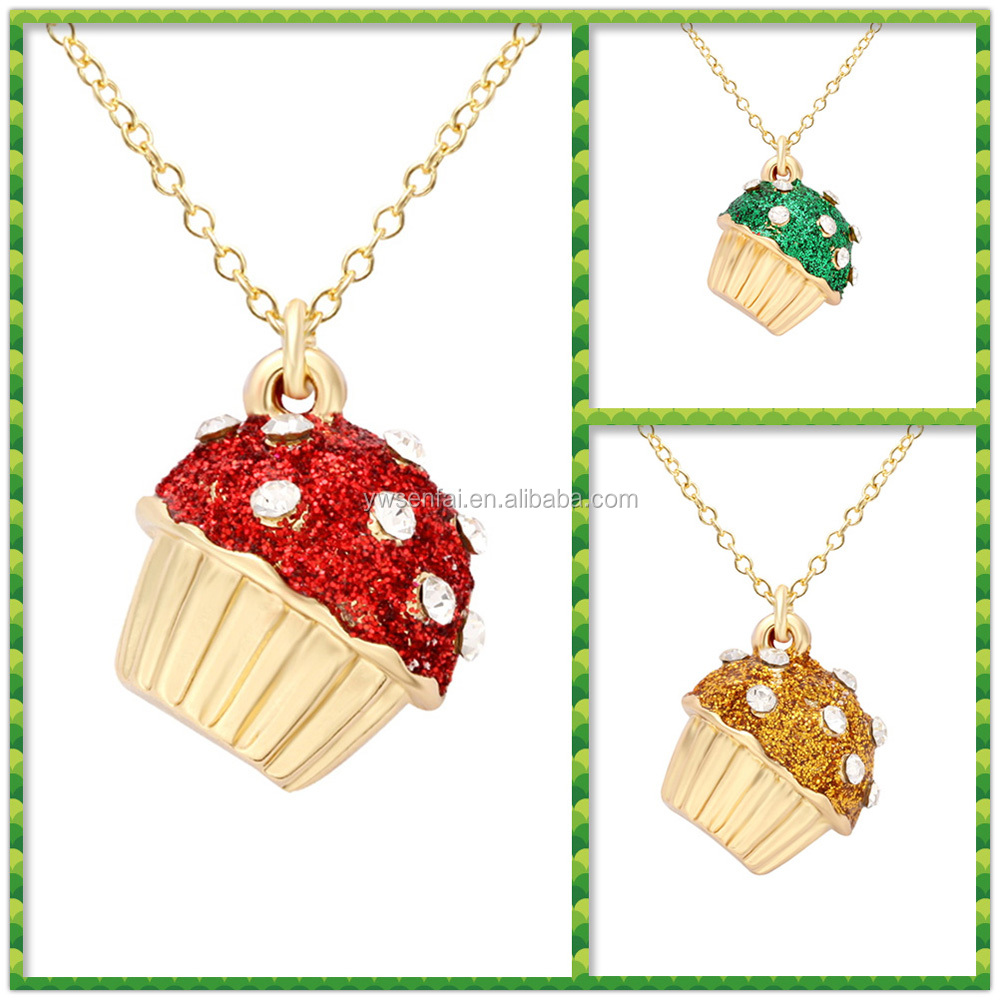 Hot New Promotional Cute Cup Cake Pendant Gold Jewellery Designs Necklace for young girls
