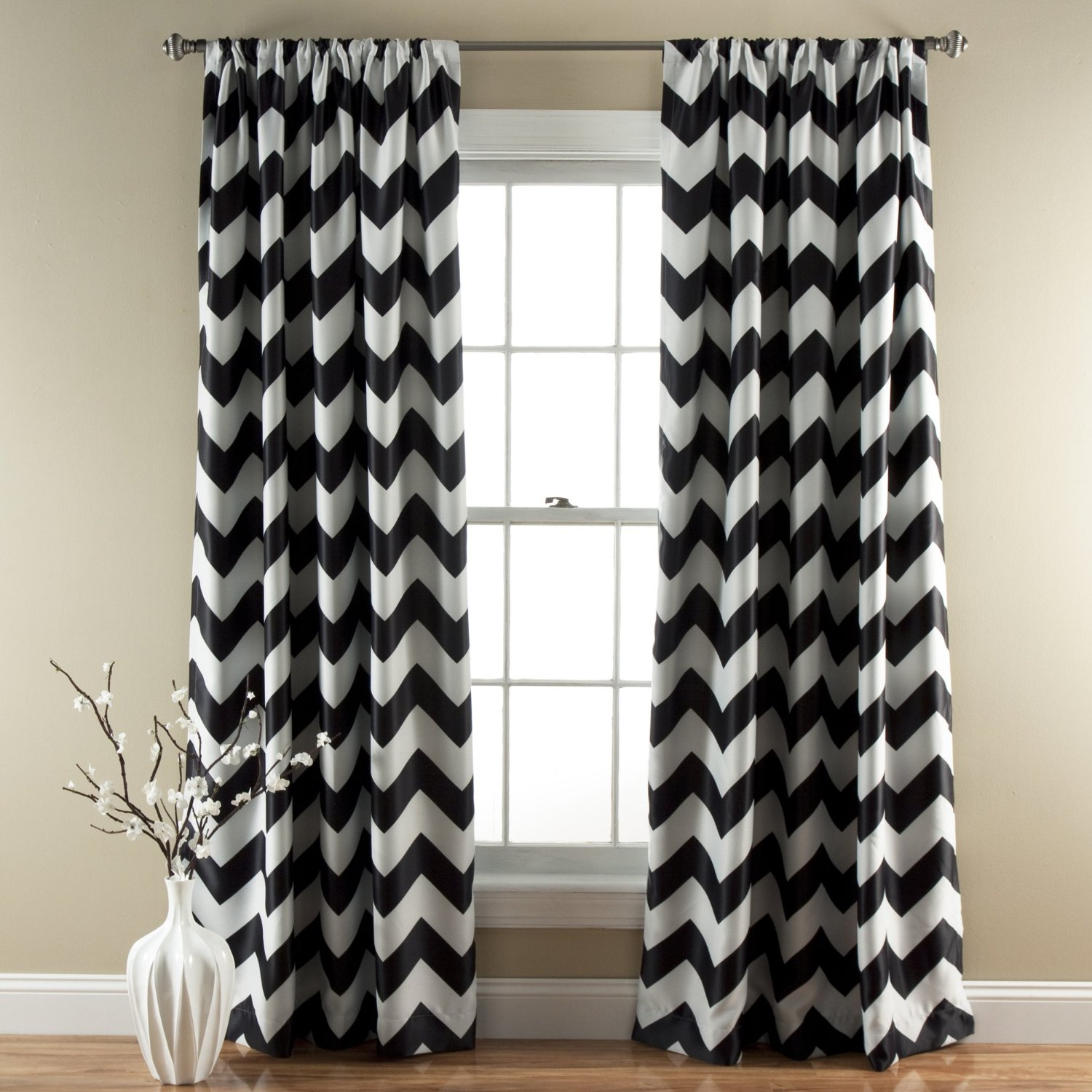 curtains of grey polyester kitchen set com white amazon cotton panels inch x chevron home curtain dp black mainstays