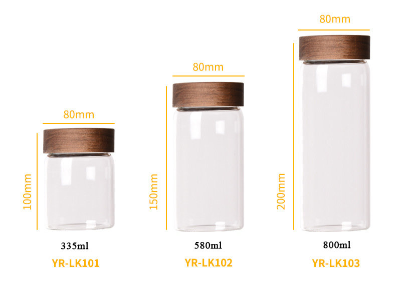 800ml Leakproof Mouthblown Heat Resistant Glass Food Storage Jar With Screw Top Acacia Wooden Lid