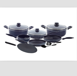 Factory supply 12pcs aluminum home cooking pot and pan set Eco-friendly black non-stick coated kitchenware set with lines