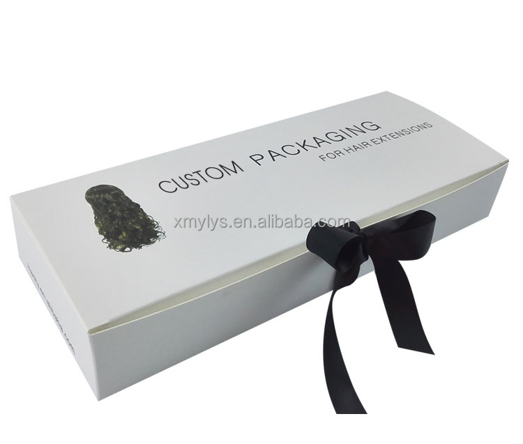 custom card box black or white color hair extension packaging wig box with ribbon tie
