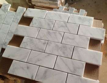 2x4 Inch Carrara White Marble HONED And Straight Edged Big Brick Mosaic Tile