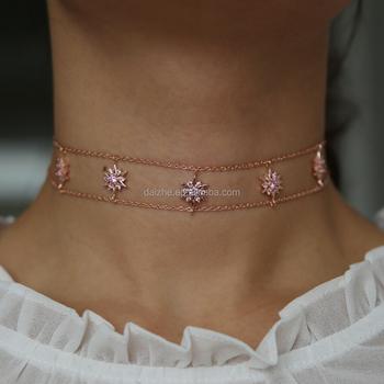 collier ras de cou rose gold