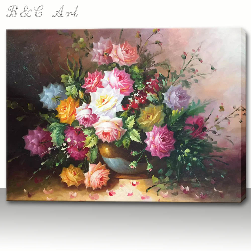 Visually Appealing Colorful Flower Designs Fabric Painting on Canvas