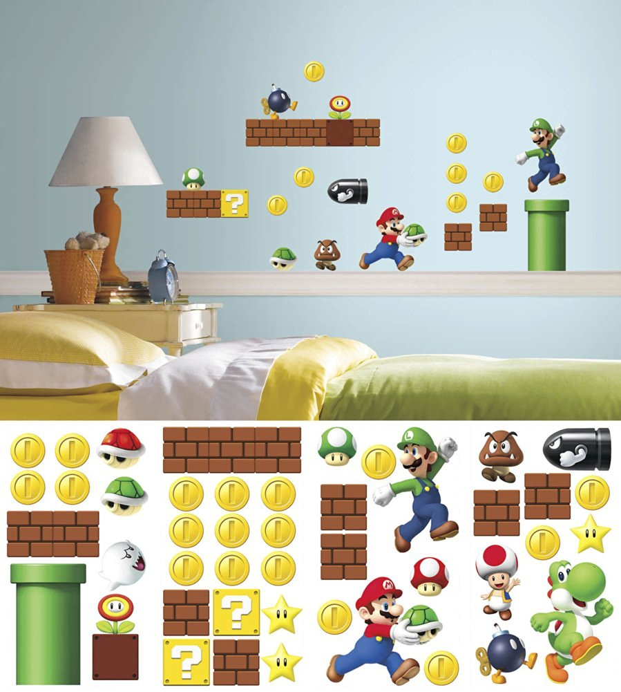 Nintendo - Super Mario Build a Scene Wall Decal 10 x 18in