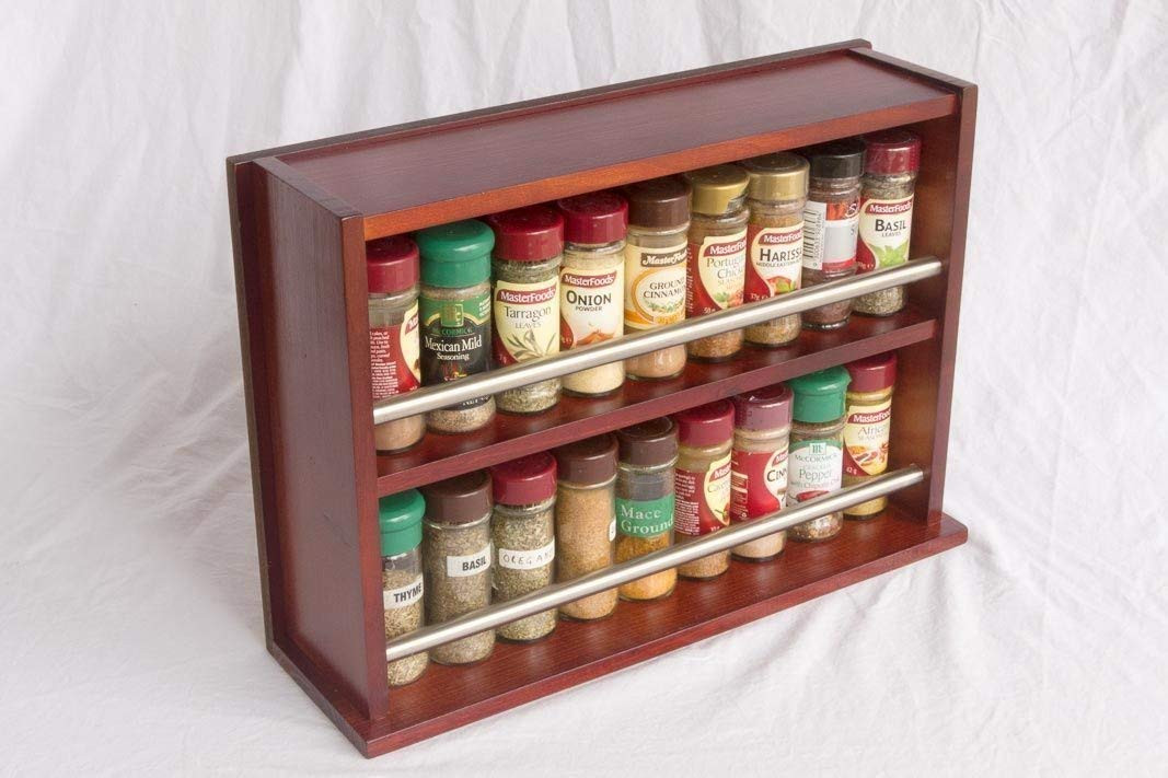 Spice Rack - Wooden - Closed Top - 2 Tiers - Stainless Steel Tube - 36 Spice Jars