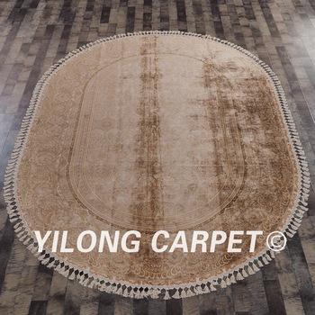 Yilong 7 2 X10 Grand Soie Sur Soie Ovale Tapis D Or A La Main