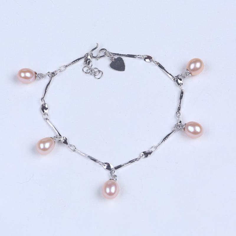 S925 sterling silver chain freshwater pearl bracelet