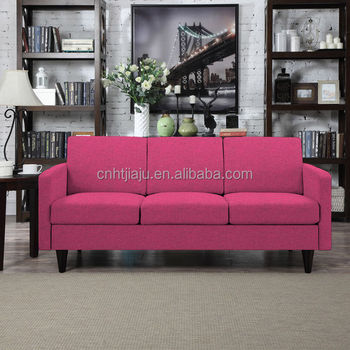 3-seats Fabric Fuchsia Pink Linen Livingroom Sofa For Sale - Buy ...