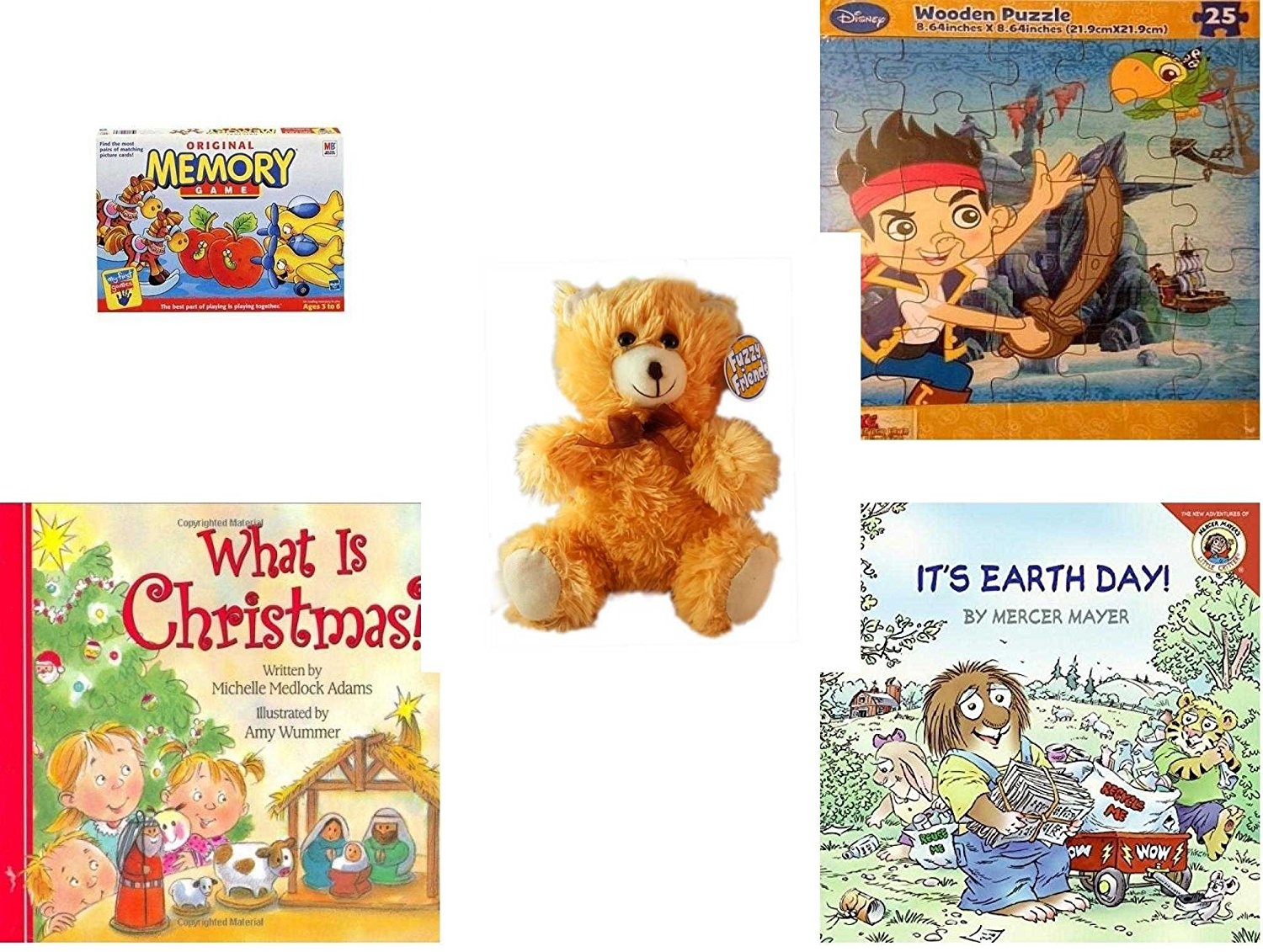 """Children's Gift Bundle - Ages 3-5 [5 Piece] - Original Memory Game - Horses, Apples, Planes Edition - Disney Jake and The Never Land Pirates Puzzle Toy - Fuzzy Friends Teddy Bear Plush 9"""" - What Is"""