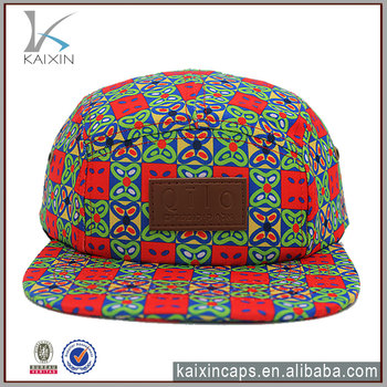 Wholesale Custom 5 Panel Hat and Cap Floral Fabric Aztec Print Blank leather  Patch and Cow df517f8e69d8