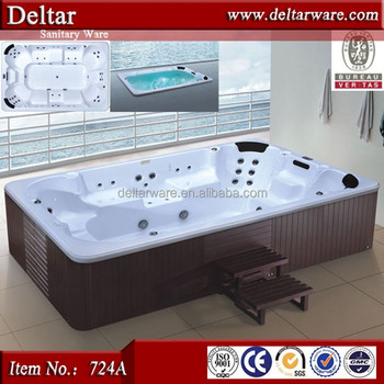Bathroom Vertical Bathtub, Acrylic Solid Wood Surface Bathtub , Free  Massage Video